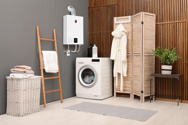 equipamento em lavanderia representando o consumo médio de gás em apartamento